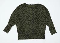 Dorothy Perkins Womens Size 14 Animal Print Green Long Sleeve T-Shirt (Regular)