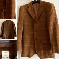 "Pure Australian 100% Wool Tartan Brown Jacket 40""Chest Cottage Academia Preppy"