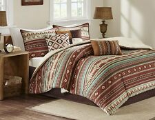 SOUTHWEST RANCH 7pc Queen COMFORTER SET : BROWN RED TAOS NATIVE SOUTHWESTERN