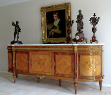 Vintage French Louis XVI Sideboard Buffet Cabinet Walnut Marble Top  Stunning
