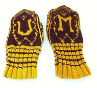 Antique UNIVERSITY OF MINNESOTA U of M COLLEGE Knit MITTENS GLOVES Gophers