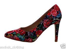 Womens Laides Fashion Floral Print High Mid Heels Pumps Court Shoes Party Shoe