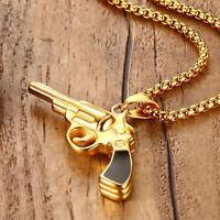Men Hip-hop Gold Pendant Gun Design Necklace Titanium Steel With Chain Jewelry