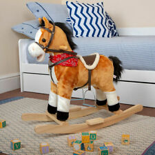Childrens Rocking Horse Pony Toy Moving Mouth Sounds Kids Ride On Rocker Wido