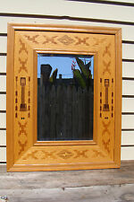 Inlay Marquetry Framed Beveled Mirror Southwestern Geometric Multiple Hardwood