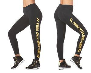 Zumba Love Over Likes Panel Ankle Leggings - Black sz Medium, Large ~ New!