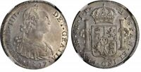 1807 Crown Size Peru Silver Coin Lima Mint 8 Reales King Charles IIII NGC AU 58