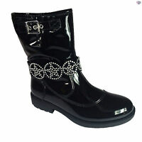 Lelli Kelly Ann Mid Girls Black Patent Winter Boots Size 28 - 37 LK3692 Zip Up