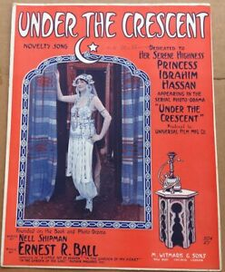 1915 SILENT FILM THEME--MIDDLE EASTERN sheet music UNDER THE CRESCENT Universal