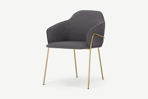 Made.com Stanley Nimbus Grey and Brass Dining Carver Chair - RRP £199