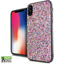 For iPhone X - Rainbow Chunky Glitter Magnetic Back Hybrid Protector Case Cover