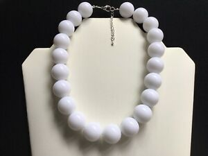 Women's Chunky Bright White Bead Choker Necklace
