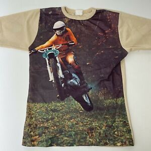 Vintage 70s Youth Montgomery Ward Motorcycle Graphic Shirt 14-16