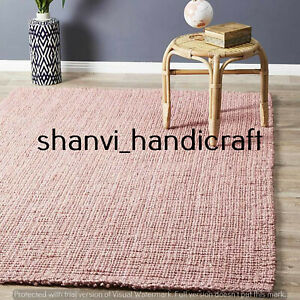 Pink Colour Handwoven Jute Rug Bohemian Home Decor Floor Rug 6x9 Feet Rag Rugs