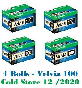 4 Rolls Fuji Fujichrome Velvia RVP 100 36 EXP 35mm Pro Color Slide Film 12/2020