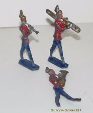 """3 VINTAGE FLAT LEAD SOLDIERS * Marching Band * 3"""" (7cm) Tall * Bandsmen *"""