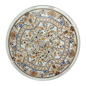 """48"""" Collectible Marble White Dining Table Top Scagliola Inlay Garden Decor E1057"""