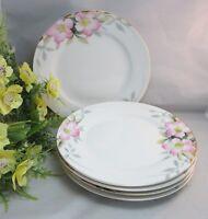 "5 Gorgeous hand painted Noritake 7 1/2"" salad plates.Pink flowers & gold trim"