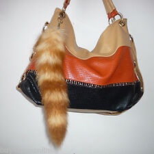 1piece Real Large American Raccoon Tail Fur Keychains Tassel Bag Tag Charm