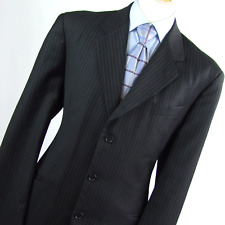 Gino Bellini Mens Black Striped Wool Blend Suit Jacket 44 (Regular)