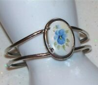 SILVER TONE METAL OVAL PORCELAIN HAND PAINTED FLOWER CLAMPER CUFF BRACELET J898
