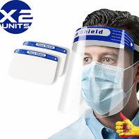 x2 Cubre toda la cara Escudo Gafas Visor Claro Protección De Cara Anti-niebla