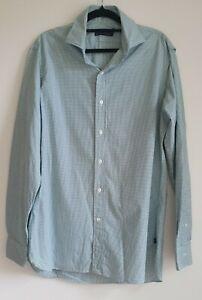 Polo RALPH LAUREN Long Sleeved Dress Shirt Green Check Size 15½ 170/92A