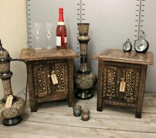 Halali Set of 2 Small Square Side End Tables Moroccan Style Carving Storage 38cm