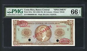 Costa Rica 20 Colones ND(1964-70) P231s Specimen TDLR  Uncirculated Graded 66
