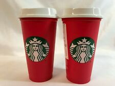 Starbucks Red 16 oz. Reusable Plastic Holiday Cup 2018 NEW Lot of 2