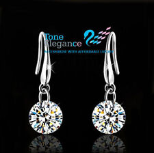 18k white gold gf sterling silver made with swarovski solid wedding earrings