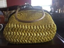 Vintage Yellow Plastic Lined Raffia? Woven Purse