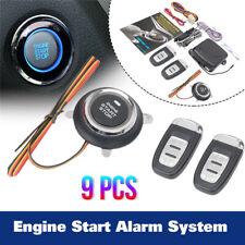 9pcs Car Keyless Entry Engine Start Alarm System Push Button Remote Starter Stop