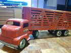 Vintage Tonka Toy. 1953 Cab Over Semi Truck and livestock Trailer