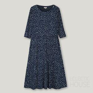 JAEGER Navy Blue Spot Fit & Flare Jersey Midi Dress, UK 10-20