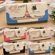 Neu Mujer Cute Torre Eiffel Estampado Bolso De Mano Cartera Tarjetas Largo