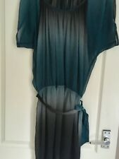 Vintage Topshop Tunic Minidress Petrol Blue And Black Fade Size 12 Stunning