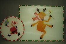 "pair Glass Cutting Boards Round Santa Claus  large 11 3/4 x15"" Dancing Reindeer"