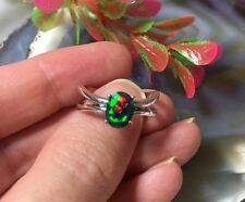 Black Opal Sterling Silver Ring Amazing Red Fire Genuine Black Opal Ring AAA +