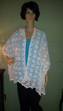Crochet Women's Handmade Classy Shawl Wrap in Snow Sparkle Red Heart Soft Yarn