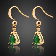Xmas Lady Fashion Jewelry Pear Cut Green Emerald Yellow Gold Gp Dangle Earrings
