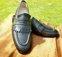 Mocassins en cuir noir et chaussures formelles à enfiler mocassins faits à la