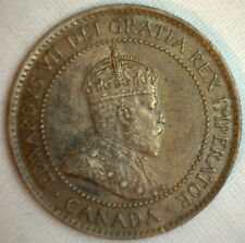1907 Copper Canadian Large Cent Coin 1-Cent Canada AU #1