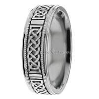 10K WHITE GOLD MENS CELTIC WEDDING BAND RING 7MM COMFORT FIT CELTIC KNOT RING