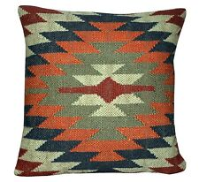 Vintage Kelim Pillow Case 18x18 Hand Woven Jute Rug Cushion Cover Rustic Pillows