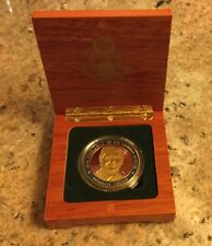 TRUMP CHALLENGER COIN in WOOD BOX GOLD EAGLE SEAL 45th PRESIDENT ENAMEL