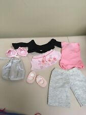 American Girl Pink Ballet Outfit Leotard Slippers  Silver Bag