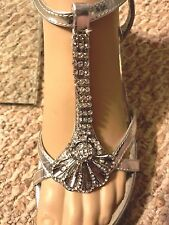 Delicacy Silver formal slingback ladies heels / rhinestones wedding size 7 M