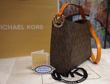NWT Michael Kors FULTON MK Signature Med Messenger Shoulder Bag BROWN PVC $228