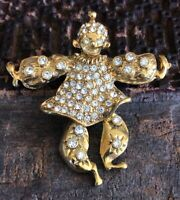 "Elegant 1928 Pave Rhinestone Articulated Clown Gold-tone Brooch 1970s vintage 2"""
